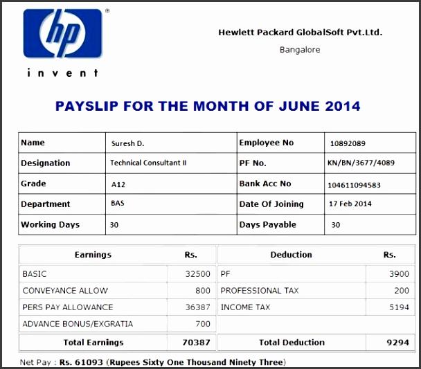 sample salary slip template
