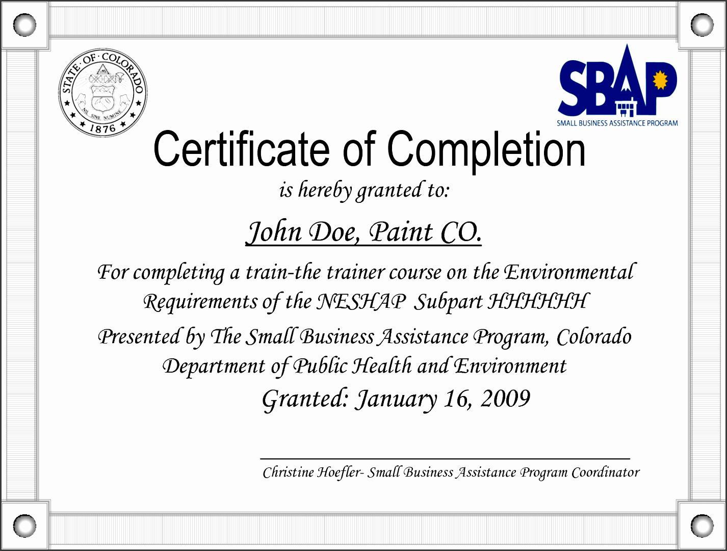 sample certificate of pletion