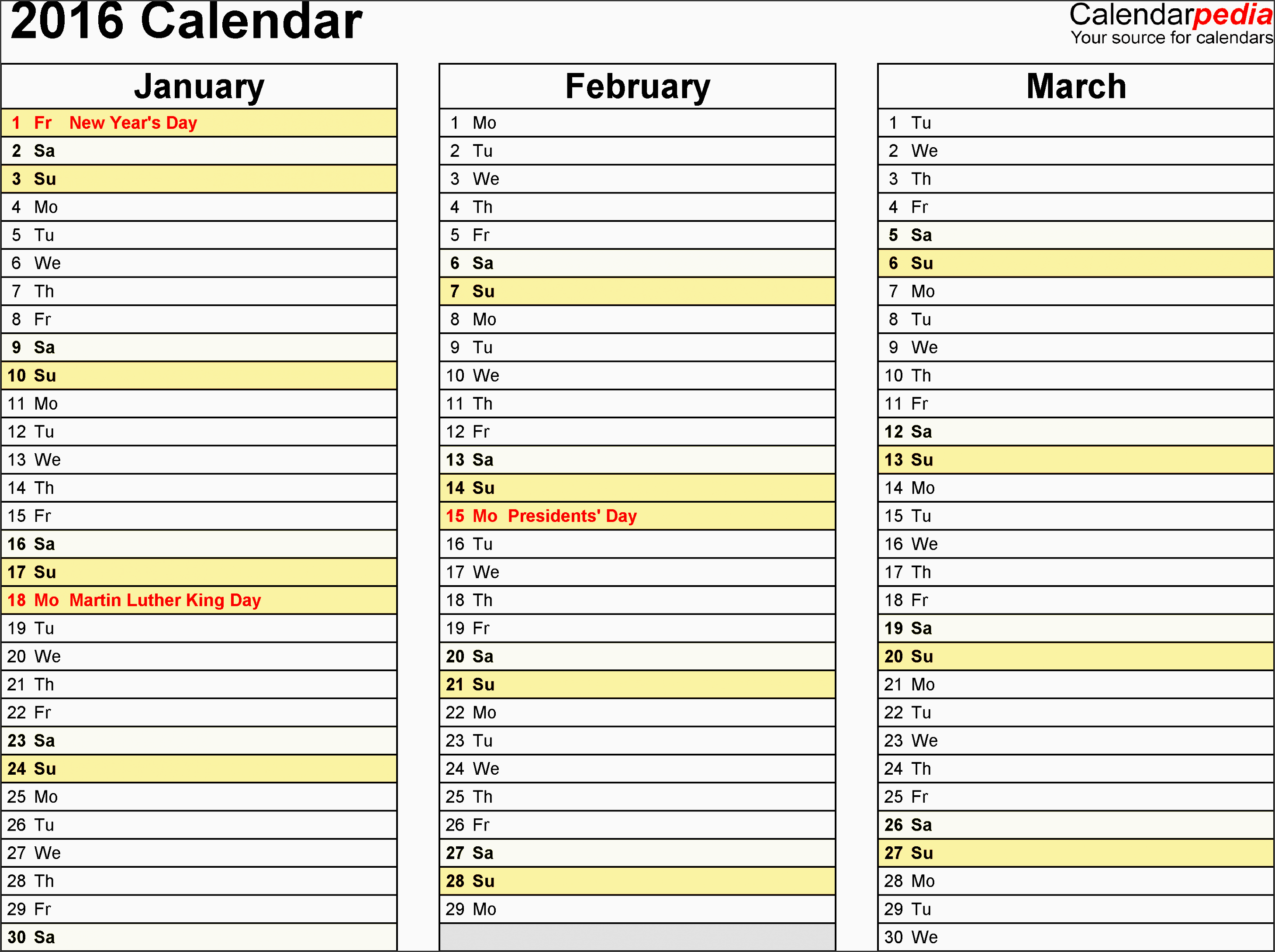template 6 2016 calendar for excel months horizontally 4 pages landscape orientation