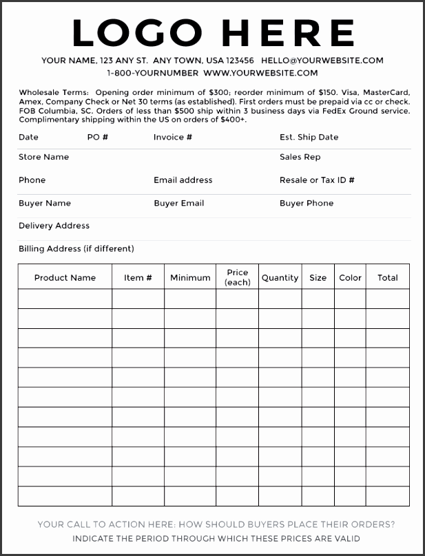 product order form sample in word