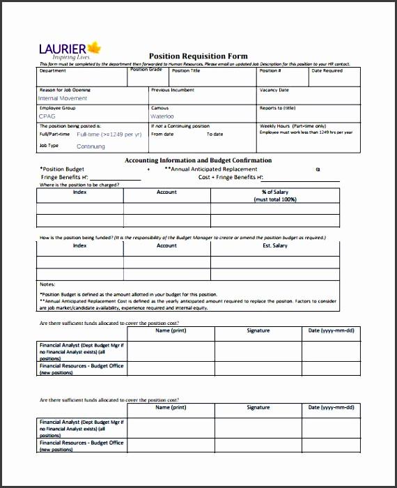 position requisition form template
