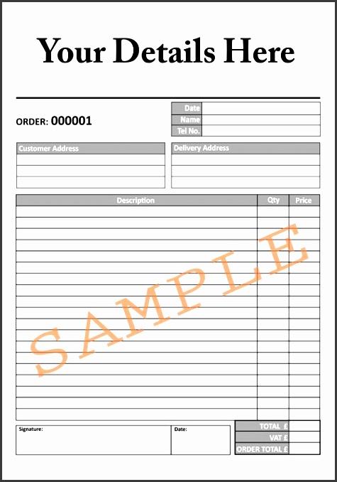 sample order form for free