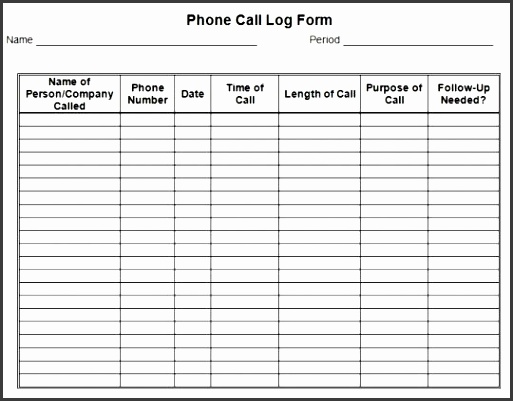 permalink to phone call log form