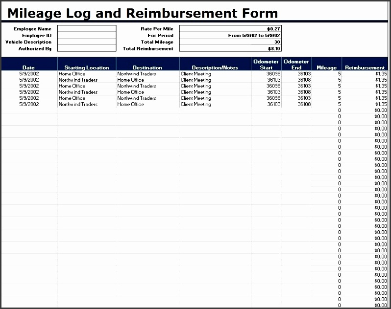 here is preview of another sample mileage log template created using ms excel