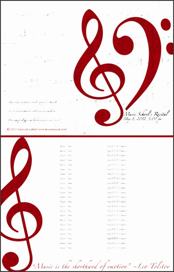 editable recital program templates