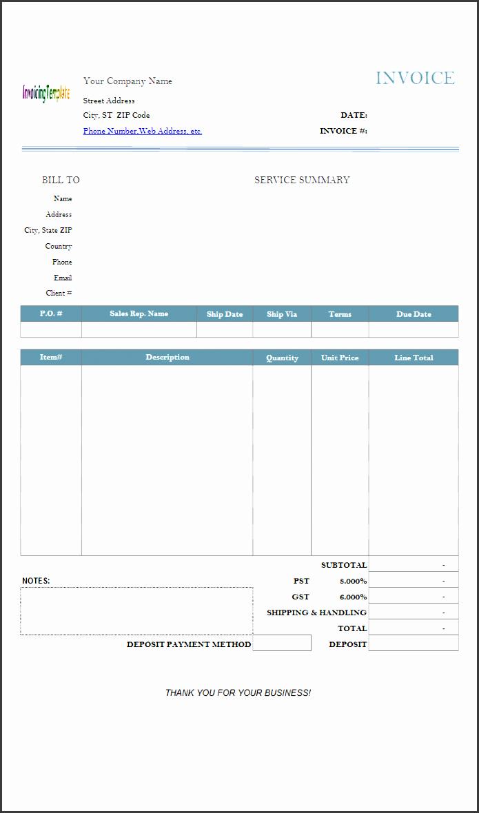 service invoice deposit printed