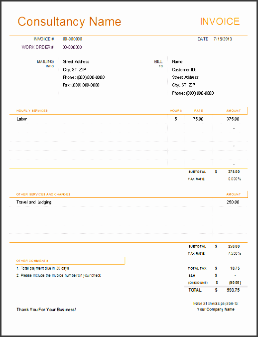 consulting invoice preview