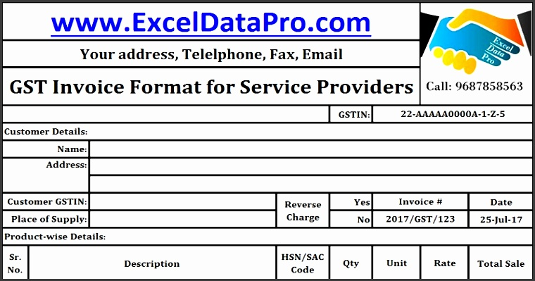 gst invoice format for service providers in excel