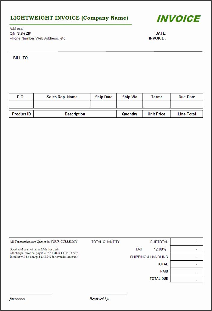 lightweight service invoice template