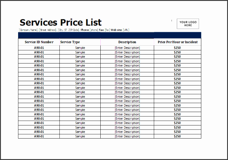services price list template for ms excel excel templates price sheet template