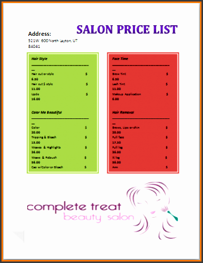 salon menu templatelon price list template