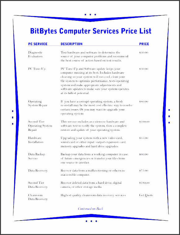 price list template 3 blue