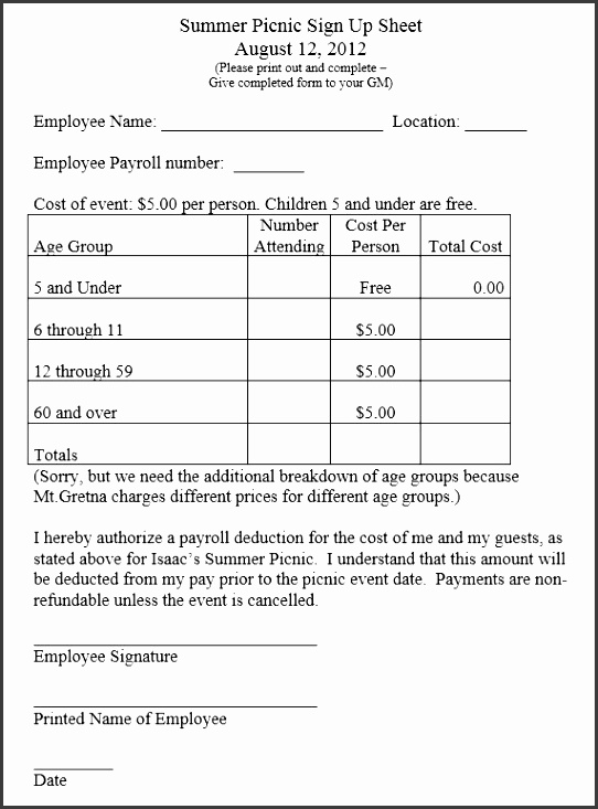 here is preview of another sample picnic party sign up sheet template in pdf format