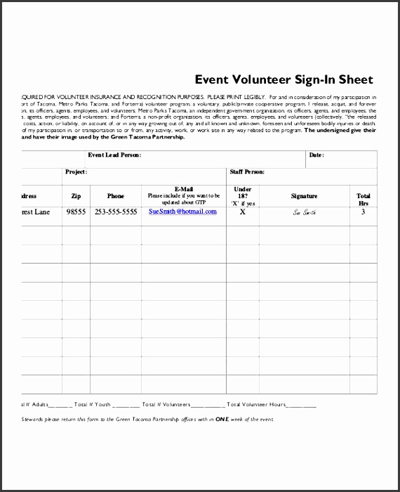 volunteer sign in sheet templates free pdf documents