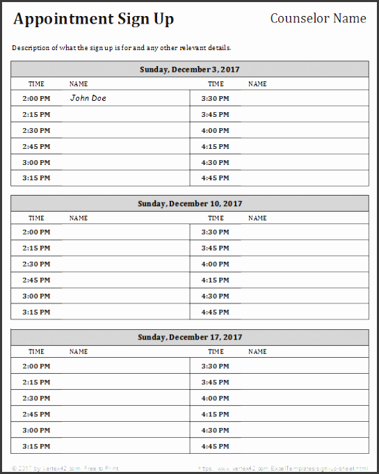 appointment schedule sign up template
