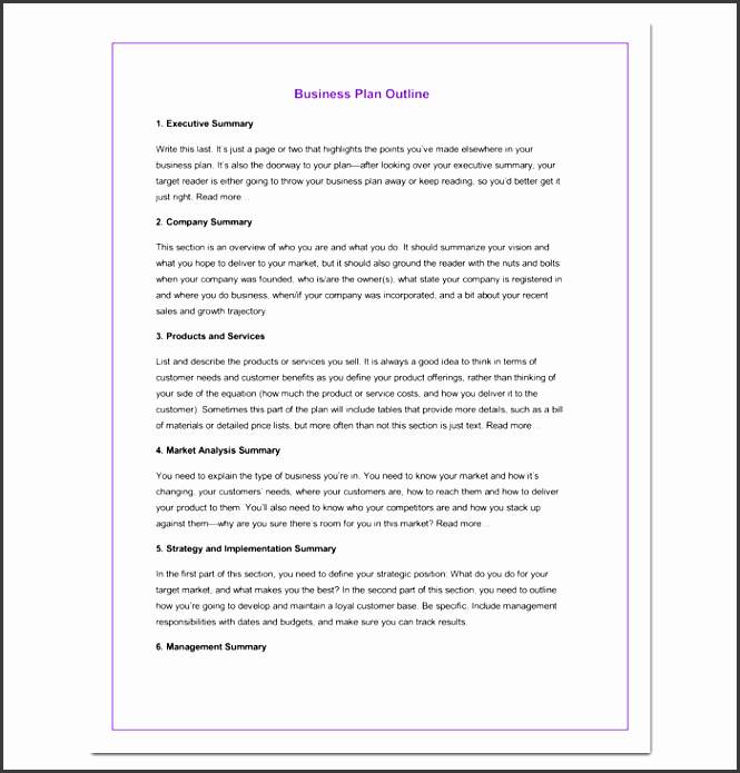 simple business outline template