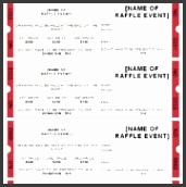 good looking raffle event ticket template design with description area and red color in the