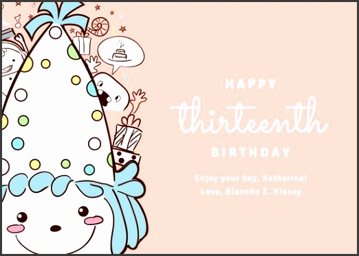 peach illustrated birthday girl birthday card