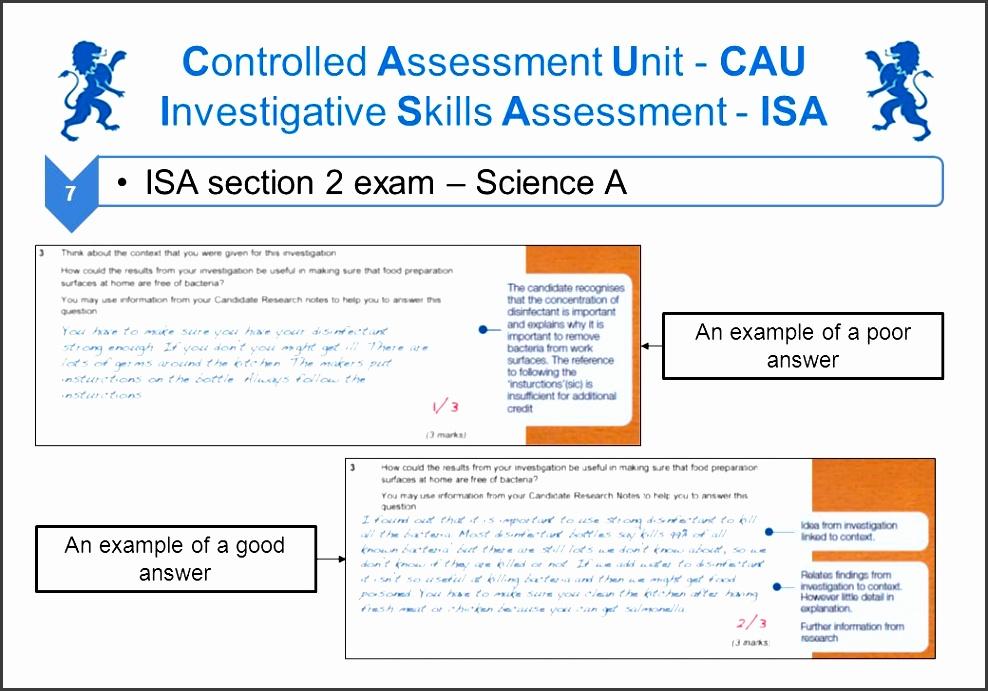 controlled assessment unit cau investigative skills assessment isa
