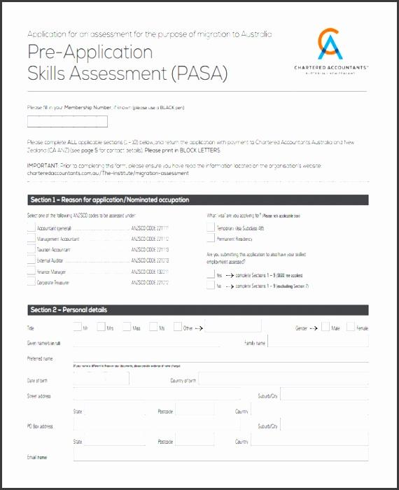 skills assessment forms