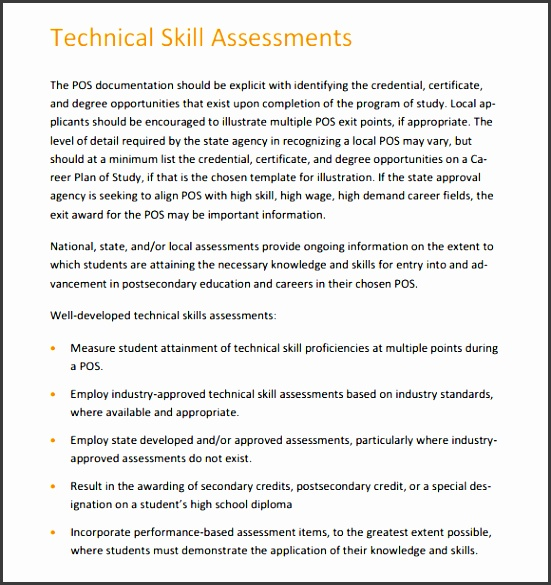 Skills Assessment Templates  Sampletemplatess  Sampletemplatess