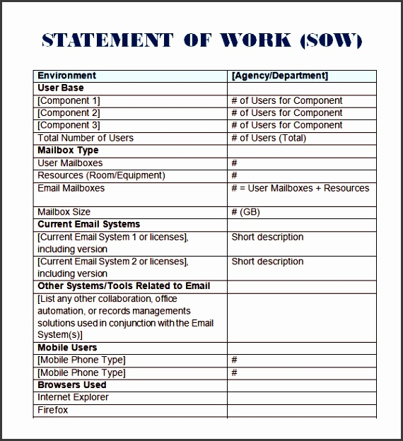 project management statement of work template