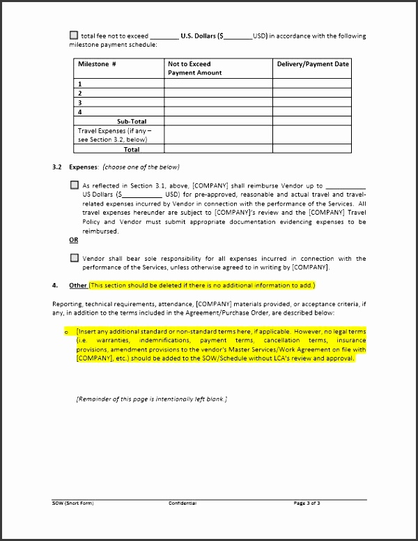 short form statement of work sow template