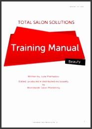 total salon solutions training manual by julie piantadosi this template is in a4 format that s