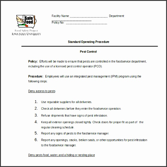 pest control procedure sop word format