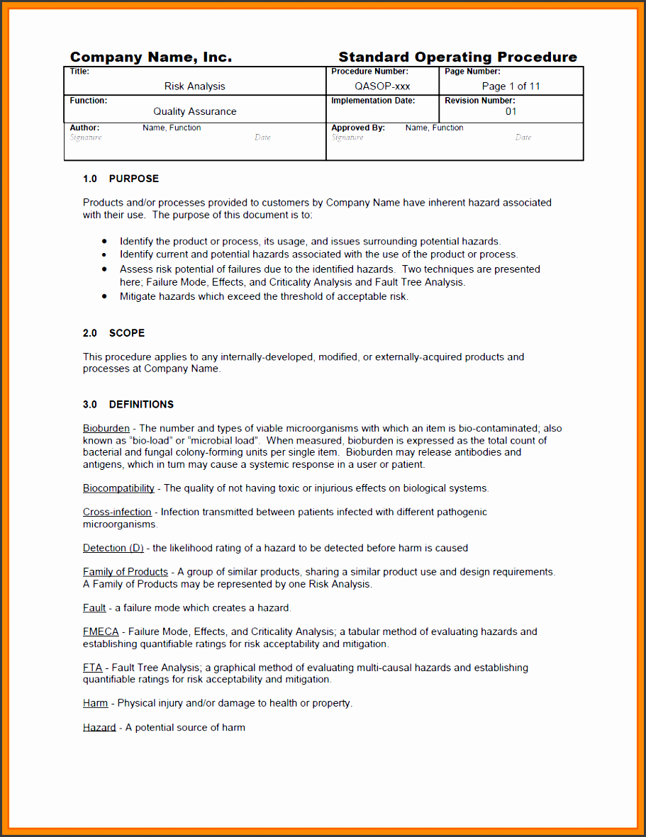 9 standard operating procedure template for company