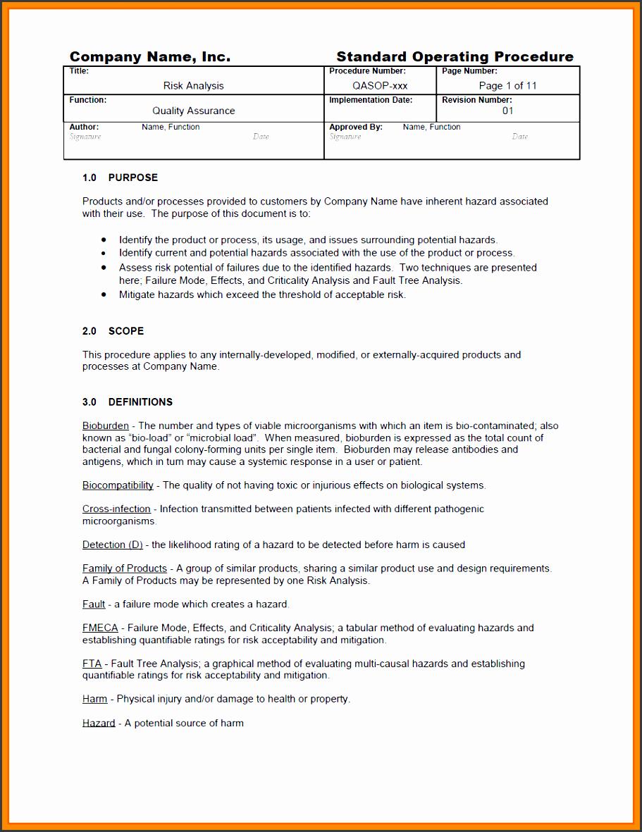 sop standard operating proceduresandard operating procedures examples risk analysis sop sample excerpt1