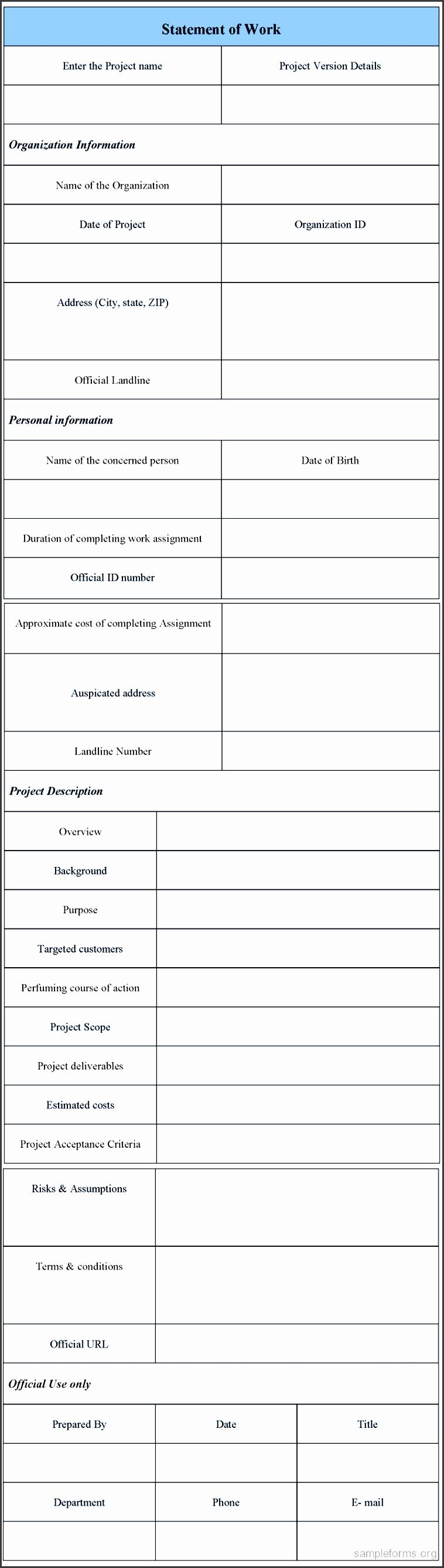 statement of work form