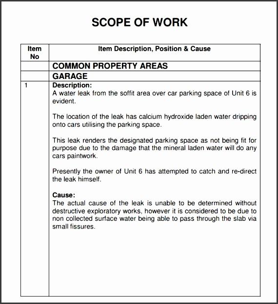 editable scope of work template