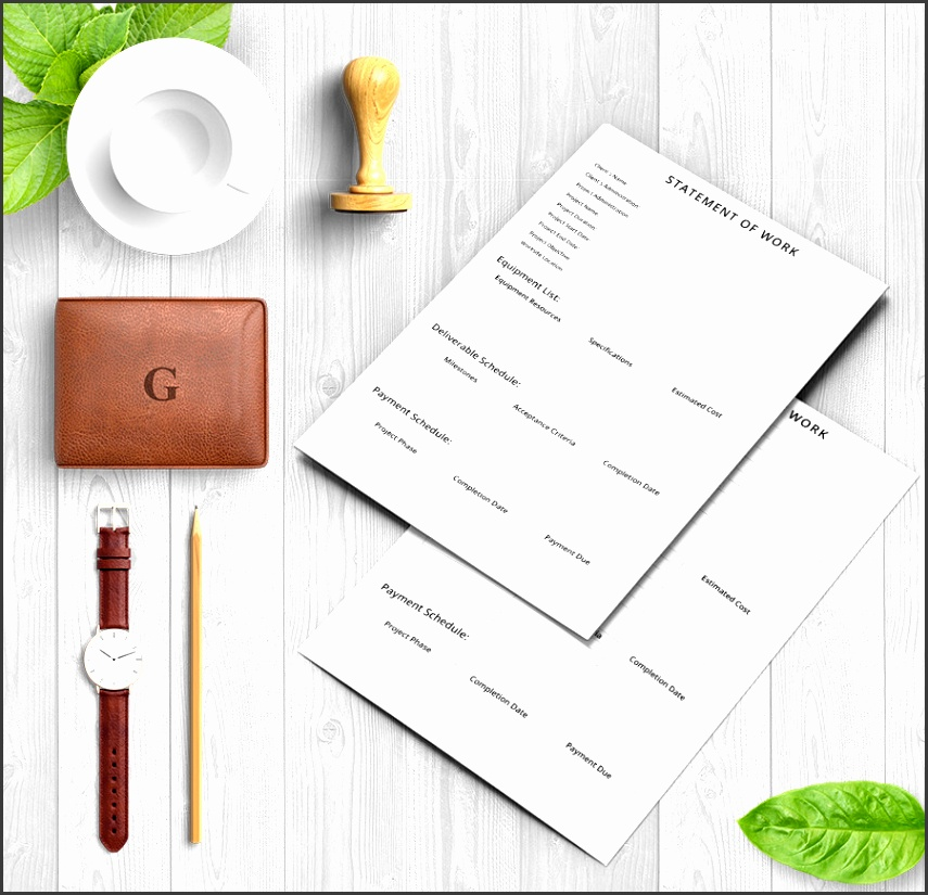 you have a fully editable and practical statement of work template here with all the major sections needed in a business document such as equipment list