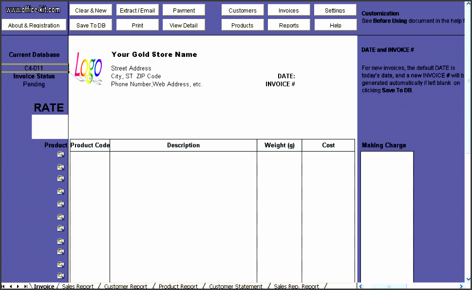 gold shop receipt template uniform invoice software edition
