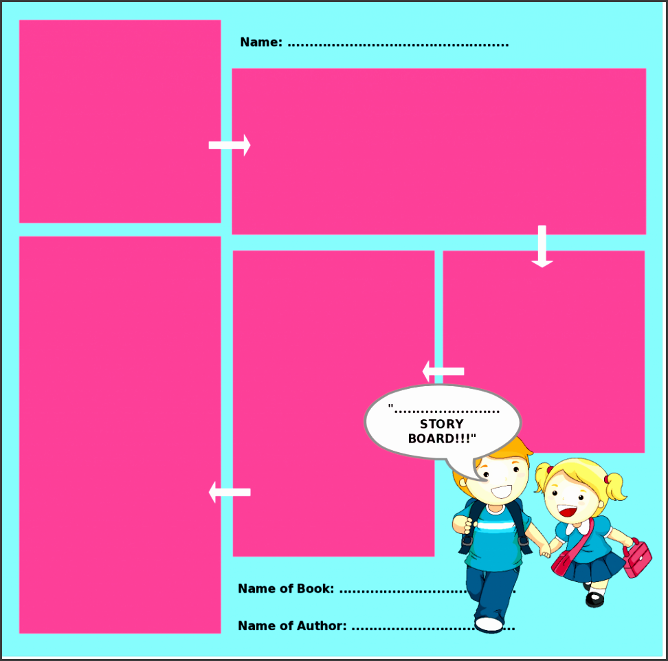 storyboard template with graphics and different size visual boxes