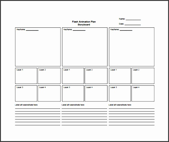 flash animation plan story board pdf template free