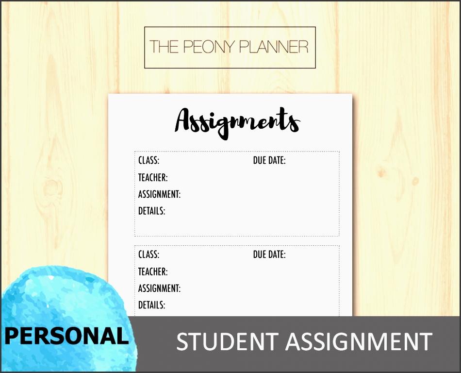 printable student assignment planner insert personal size academic college university high school filofax kikki k planners