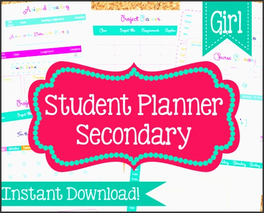 instant student planner for girls student organization 13 pdf printable sheets school