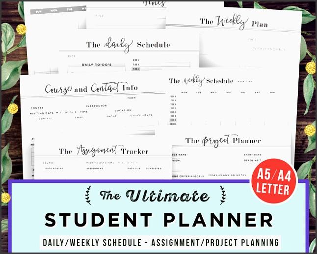 college student planner printable student planner 2017 2018 academic planner school agenda
