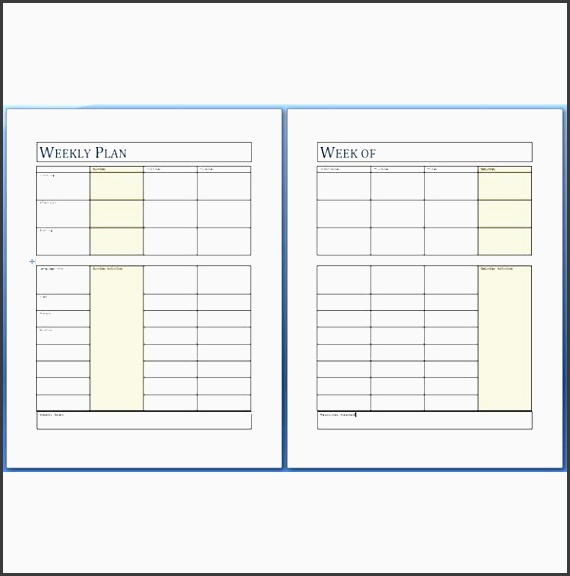 the weekly planning page helps you to organize and coordinate activities and assignments