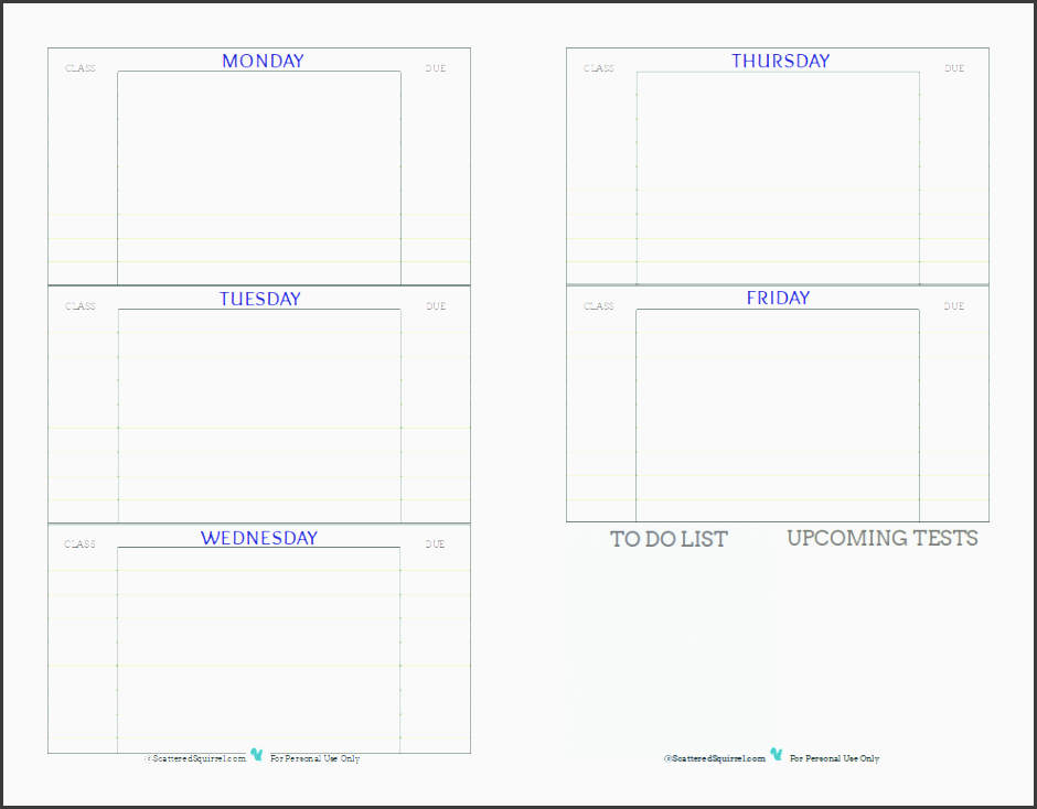 free printable student planner designed to help middle and high school students keep track of