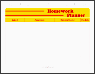 printable student planner homework