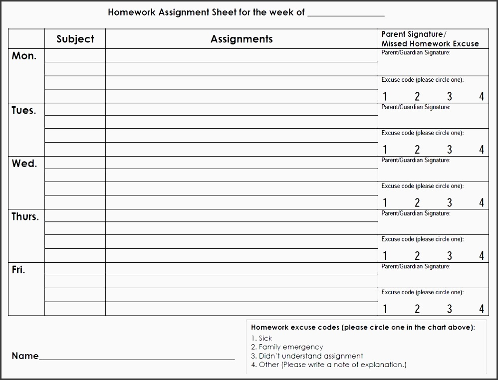 high school homework sheet printable
