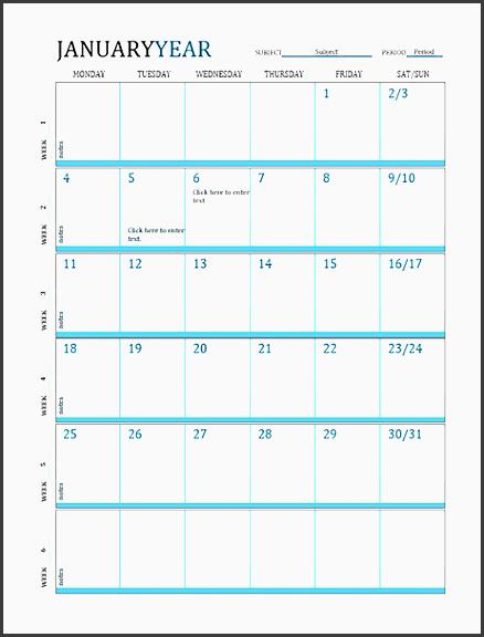 lesson plan calendar