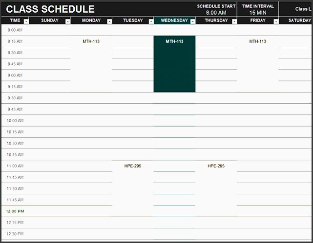 assignment schedule excel student schedule