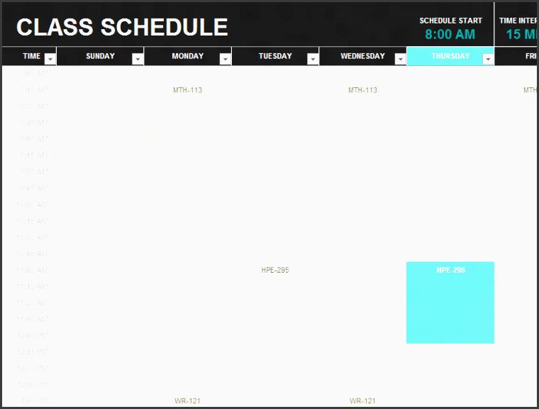 student schedule templates