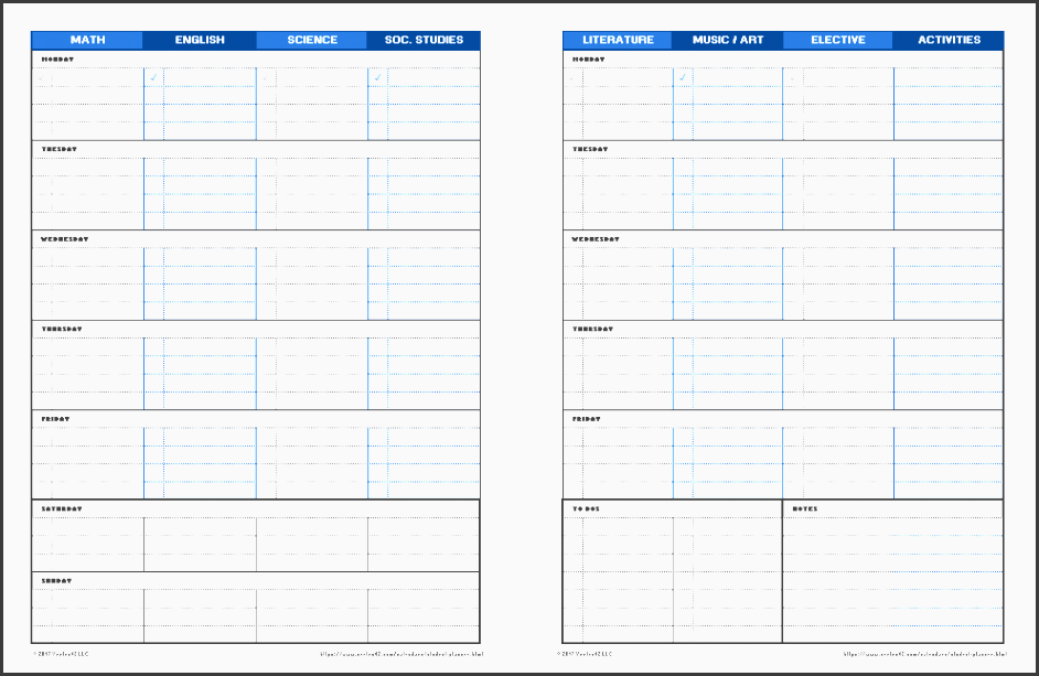 5  student assignment planner template