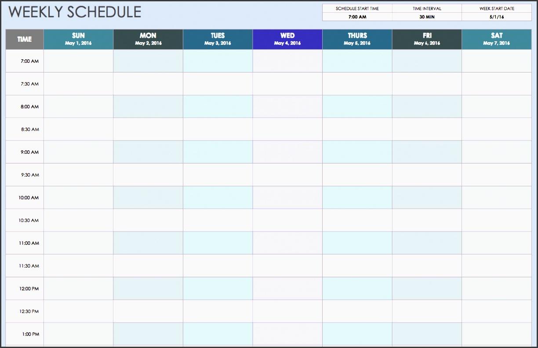 weekly schedule sun thru sat 30 min intervals