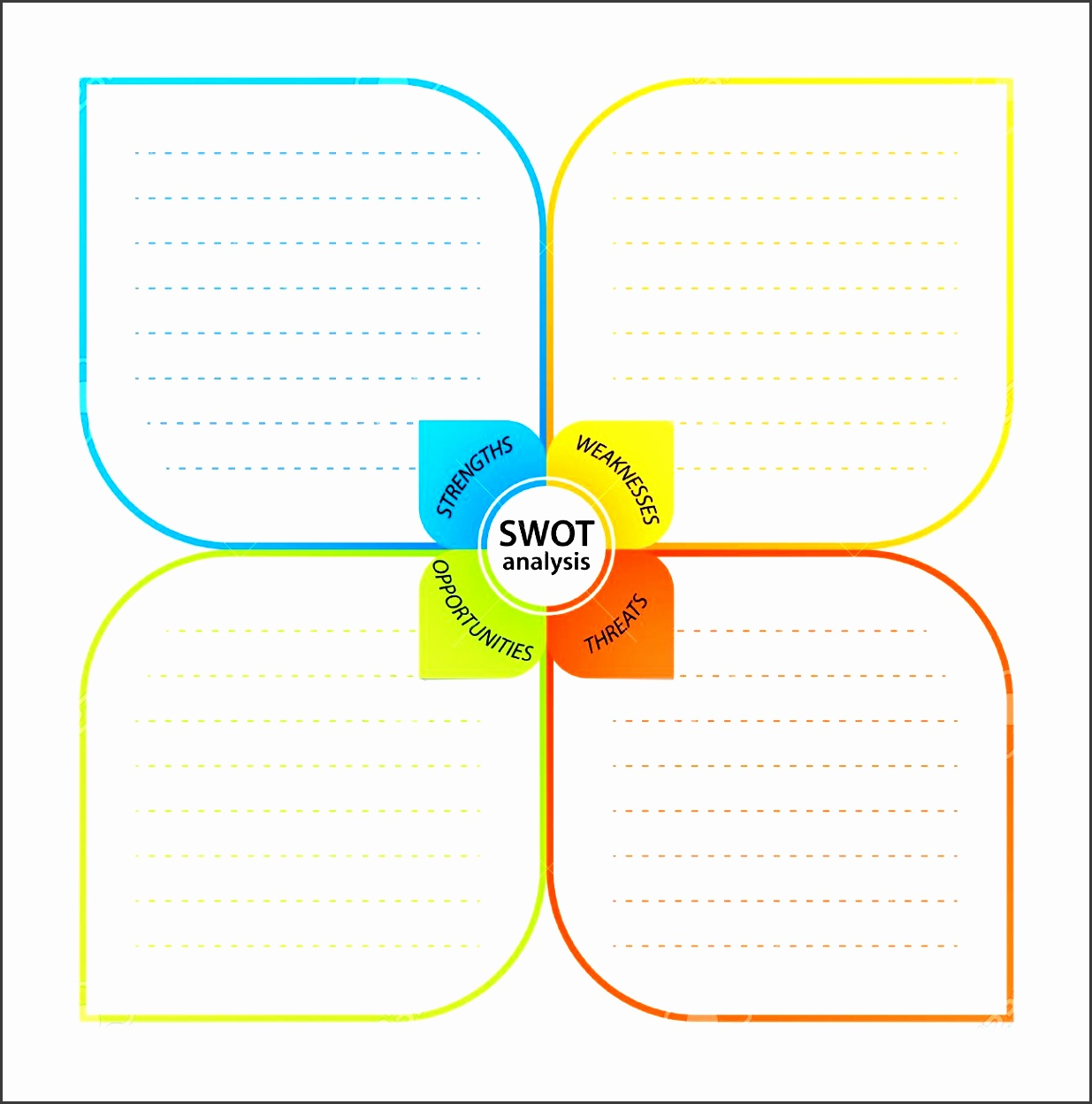 sheet with swot analysis diagram wit space for own strengths weaknesses threats and opportunities